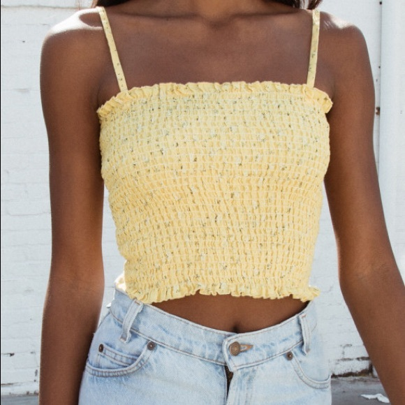 780c4ac16608bd Yellow floral ally tank top brandy melville